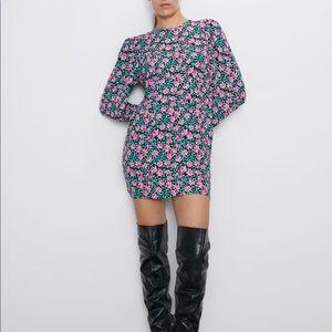 Zara mini floral print dress